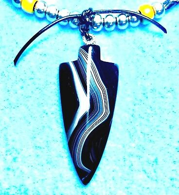 #177 ARROWHEAD Of BLACK ONYX GEMSTONE +WOVEN LEATHER NECKLACE By NATIVE AMERICAN