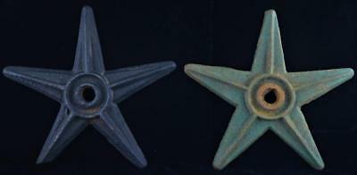 Antique Cast Iron Architectural Stars (2)-Old Paint-Late 19Th Century