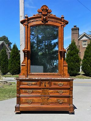 Walnut Victorian Marble Top Dresser and Mirror~~Secret Drawer