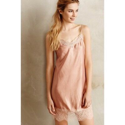 Anthropologie Lace Hem Silk Chemise Eloise Size Medium Slip Sleep Nude Natural