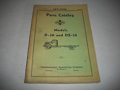 1937-1938 International Trucks D-30 Ds-30 Chassis & Body Parts Catalog Clean