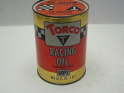 Vintage Torco Racing High Performance full Cardboard Oil Can Motorcycycle W/Moly