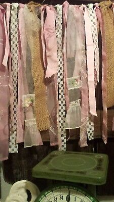 #709 photo prop fabric garland Shabby Chic Wedding country pink mauve burlap vtg