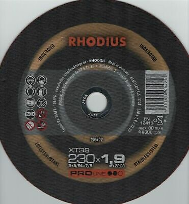 "2) RHODIUS 9-inch x 5/64 x 7/8"" Cut-off Flat Disc Stainless Steel & Metal xt38"