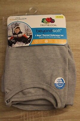 NEW Boys Fruit of the Loom Thermal Underwear Set Shirt & Pants in Gray