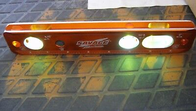 "Savage Lightning Magnetic Lighted Torpedo Level 9"" Solid Billet"