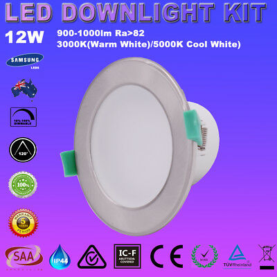 Pack of 6 12W LED DOWNLIGHT KIT 92mm Cutout LED WARM / COOL WHITE DIMMABLE