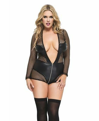 New Music Legs 55011Q Plus Size Long Sleeve Fishnet And Wet Look V Shape Teddy