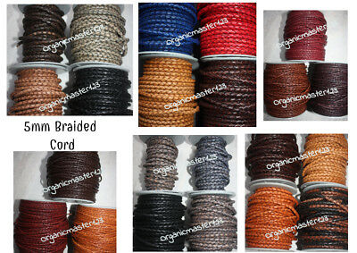 Genuine Round Bolo Braided Leather Cord DIY Jewelry Necklace 5mm 3 Feet