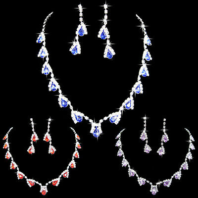Women Cubic Zirconia Necklace Crystal Pendant Earrings Bridal Jewelry Set Deluxe