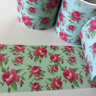 Washi Tape Wide Pink Roses On Aqua 40Mm X 5Mtr Planner Craft Wrap Scrap Mail Art