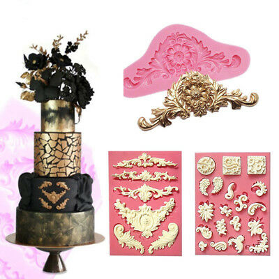 Silicone Sculpted Flower Lace Mold Fondant Chocolate Cake Decorating Baking Mold