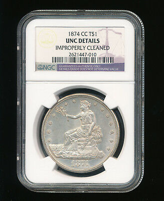 1874-CC Trade Silver Dollar T$1 NGC Genuine Uncirculated Details Cleaned RARE