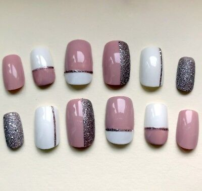 Hand Painted False Nails Square (Or Any Shape) Pink White Bronze. Press on nails