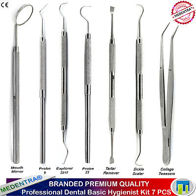 Dental Examination Oral Hygienist Set Tooth Tartar Remover Scalers Explorer 7PCS