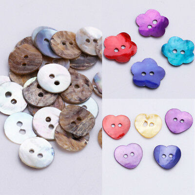 50/100X Mother of Pearl MOP Round Heart Flower Shell DIY Craft Sewing Kit Button