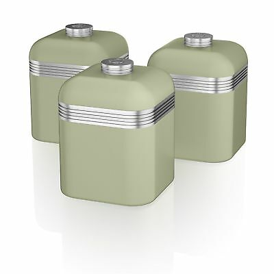 Set Of 3 Tea Coffee Sugar Green Canisters Jar Kitchen Storage Containers Swan