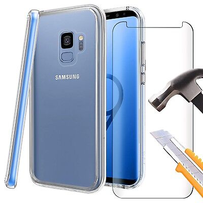 For Samsung Galaxy S9 - Clear TPU Gel Case Cover Skin & 3D Full Tempered Glass