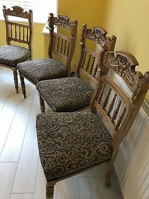 set of x6 antique or vintage hand-carved wooden dining chairs