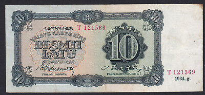 Latvia 10 Latu 1934, Series: T 121569, Pick: 25d, VF/XF
