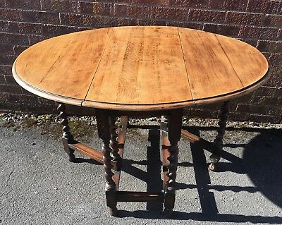 Vintage Oval Drop Leaf Table Barley Twist Legs Ideal Smaller Space CAN DELIVER