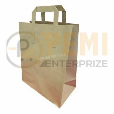 25 MEDIUM BROWN KRAFT CRAFT PAPER SOS CARRIER BAGS TAKE AWAY D110x W220 x H249mm