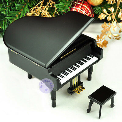"""Play """"Music of the Night"""" Wooden Piano Music Box With Sankyo Movement (Black)"""
