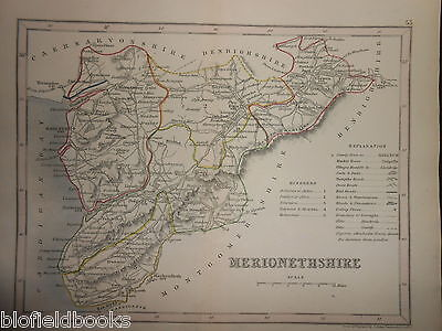 Original Antique Hand Coloured Map of Merionethshire (North Wales) c1850s, Bala