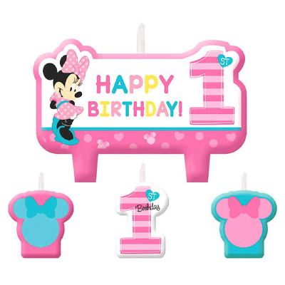 Disney Minnie Mouse Fun to be One 1st Birthday Candle Set
