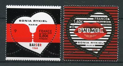 France 2018 MNH Love Valentines Day Sonia Rykiel 2v Set Hearts Shaped Stamps