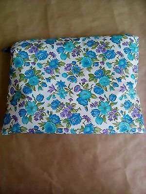 RETRO TURQUOISE FLORAL TEA COSY - blue green padded vintage 1970s kitsch