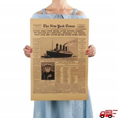 Titanic Shipwreck The New York Times Old Newspaper History Poster Retro Vintage