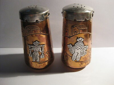 Sterling Silver &copper Mixed Metals Salt & Pepper Shakers Victoria Taxco Mexico