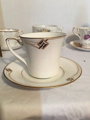 Noritake Cup & Saucer Set Traditions 2000 White w/ Line Design Gold Trim Silver