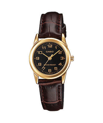 NEW Casio LTP-V001GL-1B Women's Watch BROWN Leather SS GOLD-tone case