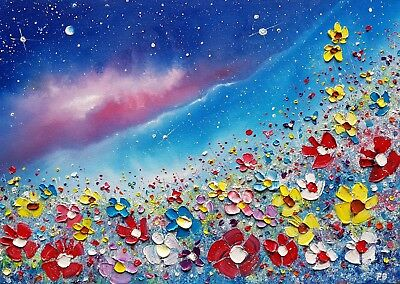 Stormy Meadow Flowers in love, large colourful, original oil painting Phil Broad