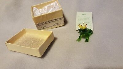 Clear Glass Miniature Frog Prince With A Gold Trim Crown Figurine Pier 1
