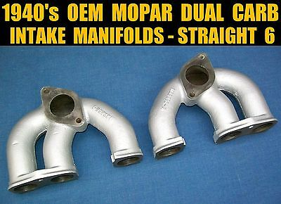 1936-1950 MOPAR TRUCK Split Twin Carb Intake Manifold, 6 Cylinder Dodge  Plymouth