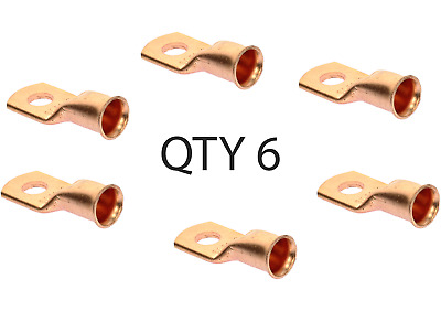 """(6) Wire Ring Terminal Copper 1/0 AWG Gauge 5/16"""" Connectors Car Audio Terminals"""