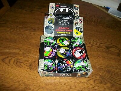 VINTAGE BATMAN TOPPS COMPLETE COUNTER BOX OF CANDY MEDALLIONS..36 Count..1991