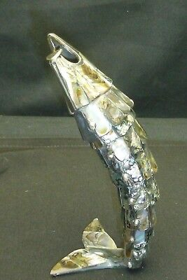 Vintage Abalone Shell Articulated Fish Bottle Opener Beautiful ..8+ Inches