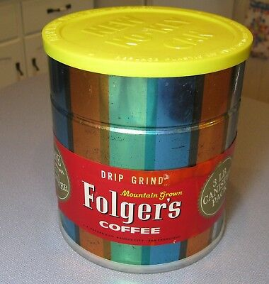1962 Folger's Coffee 3 Pound Decorated Canister Sealed Both Ends Empty