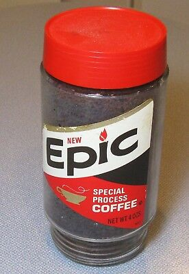 70's Folger's EPIC Special Process Coffee 4 Oz Glass Jar, Sealed FULL Display