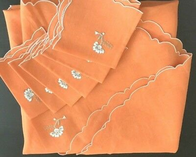 Lovely Made in Greece Floral Embroidery Round Orange Linen Tablecloth Six Napkin