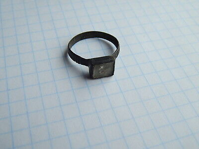 Ancient Bronze Casting Ring With Stone