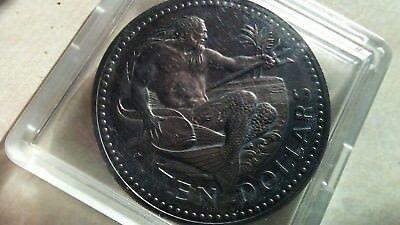 1974 BARBADOS 10 Dollars Antiqued Silver coin - Neptune - God of the Sea