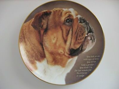 "Danbury Mint CHERISHED BULLDOG Collectible Plate ""Eyes of Love"""
