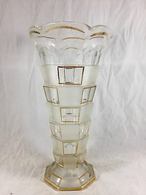 Vtg Art Deco Clear Cut Glass Vase Frosted Gold Layered Design 9 in