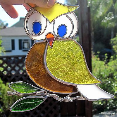 1990s Stained Glass Suncatcher Multi-Colored Glass Large Owl On Branch Heavy