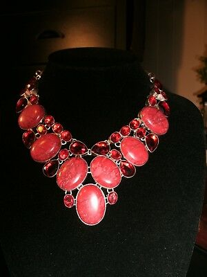 necklace large red copper Turq.  silver plated Cleopatra cluster bib adjustable